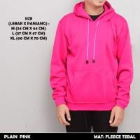 Jaket Sweater Hoodie Polos Zipper Plain Pink Premium Tebal