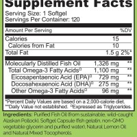 Naturelo - Premium Omega-3 Fish Oil - 120 Softgels 4 M Grosir/Eceran