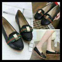 Sepatu Cewek Wanita Sneakers Wedges Flatshoes Terbaru Slip On Kets New