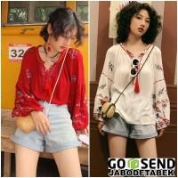 Baju Blouse wanita Bordir Etnik Tassel Boho Bohemian Pantai Korea