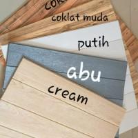 Wallpaper Dinding Foam Wood 3D Serat Kayu Cream