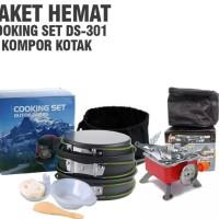 Paket hemat cooking set ds ds 301 kompor kembang windproof kovar