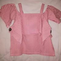 baju sabrina tali kotak-kotak merah putih merk j.rep