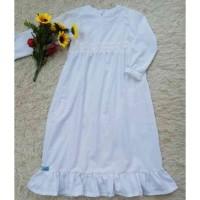 Nisa Baju Gamis Anak Perempuan Warna Putih Simple & Cantik Umur 4-8 Th