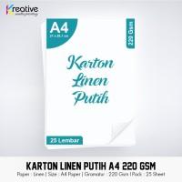 Kertas Karton Linen Putih (A4 / 220 gsm / 1 pack = 25 lbr)
