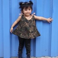 Blouse army tali tanktop untuk anak perempuan 2-5 tahun