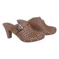 High Heels Clogs Bay CZ1 PVC 7cm / Sandal Sepatu Pesta Wanita - Coklat