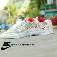 Sepatu Nike Airmax 3D Skin Full White Putih Sport Casual Pria wanita