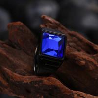 Cincin Hitam Stainless Steel Batu Zircon Biru Untuk Pria dan Wanita