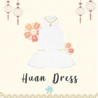 Diddlydoo Huan Dress White Gold - Dress Xincia Anak Perempuan