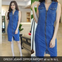 Mini Dress Jeans Zipper Import Wanita Bodycon Denim Stretch Melar