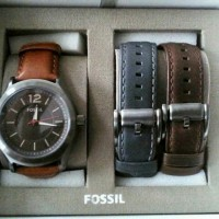 Fossil Chronograph Men Gift Set Watch + 2 strap ORIGINAL