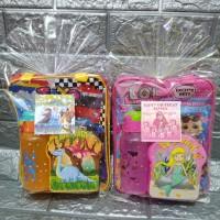 Paket souvenir ulang tahun Tas tenteng,botol minum dan kotak makan
