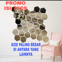 hiasan dinding cermin hexagonal impor mirror wall stiker wallstiker