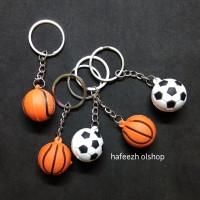Gantungan Kunci Bentuk Bola Footbal Basket Bahan Karet