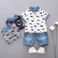 setelan baju bayi setelan baju anak laki motif dino dan celana jeans