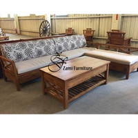 Kursi sofa sudut kayu jati