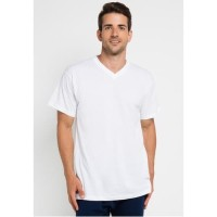 [Dewasa] Kaos Polos V-Neck Unisex Combed 20S - Putih