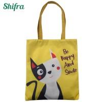 HS13904 Shifra – Tas Tote Bag Kanvas Gambar Kucing Kuning