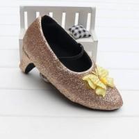 New Sale Prewalker Heels Glitter Gold Butterfly Berkualitas
