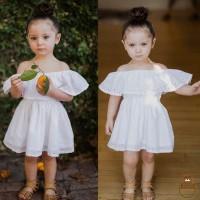 Dress Bayi / Anak Perempuan Off Shoulder Ruffle Warna Putih untuk