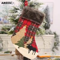 Amee Kaos Kaki Gantung Motif Print Pohon Natal untuk Hadiah