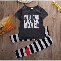 .IS-Toddler Kids Baby Girls Quoted Outfit Clothes T-shirt Tops+Long