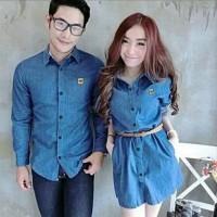 Baju Kemeja Dress Couple Denim Vans