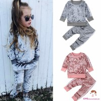 CEC-Casual Toddler Kids Baby Girl Infant Clothes Set Outfit
