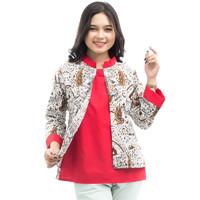 S-M-L-XL-XXL-3L-4L-5L Blouse Batik Wanita Atasan Bolero Resleting blkg