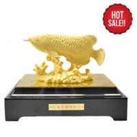 BIG SALE!! Pajangan Ikan Arwana Lapis Emas XL Patung Ikan Arwana