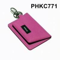dompet stnk mobil motor gantungan kunci kain warna pink - PHKC771
