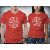 Baju kaos couple Imlek - 2020 Circle Flower Red