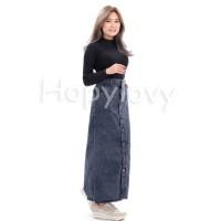 BJD - Rok Jeans Panjang Button Up Maxi Skirt Snow Black Nilouh