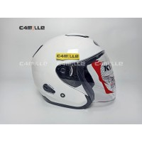 HELM KYT KYOTO SOLID WHITE HALF FACE - M
