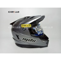 HELM MDS SUPER PRO SOLID GRAPHIC METALIC DOUBLE VISOR FULL CROSS TRAIL