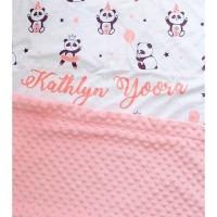 Custom Nama Selimut Bayi / Baby & Anak Minky Pattern(BINDING BORDER)
