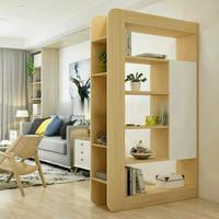 lemari rak buku pembatas ruangan kayu jati belanda sekat tengah 2 sisi