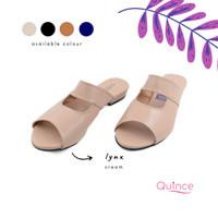 sandal wanita teplek slip on santai - Quince Lynx - Hitam, 36