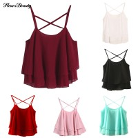 Ready Stock Solid Double Layer Chiffon Camisole Vest Cross Strap Top