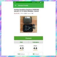 Headset Earphone Handsfree Samsung Galaxy S7 S6 S 7 S 6 Edge Black