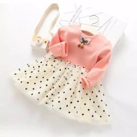 dress polkadot pink dengan rok tutu for baby girl