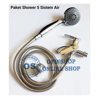 Paket Kran Shower Plus Keran Dobel 5 Spray Air Komplit Tinggal Instal