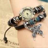 Jam Tangan Quartz Gelang Vintage Fashion Dengan Motif kupu-kupu