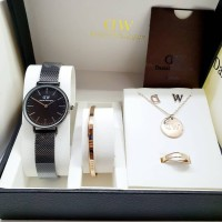 Jam Dw satu set /full set gelang kalung anting