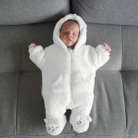 Baru Bayi Lahir Bayi Berkerudung Kartun Flanel Baju Monyet Jumpsuit