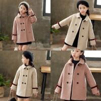 Jaket Wool Anak Perempuan Lengan Panjang untuk Musim Gugur / Dingin