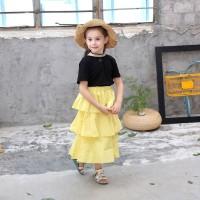 Set 2Pcs Dress Princess Katun Anak Perempuan Tanpa Lengan + Rok Kue