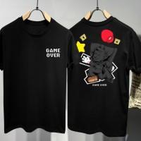 T-shirt Mario Mess / Baju Kaos Distro Pria Wanita Hitam Cotton 30s