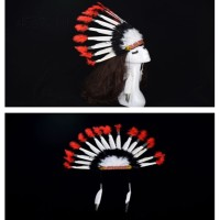 Stok Terbatas Party Wild West Feather Chief Indian Hat Head Dress